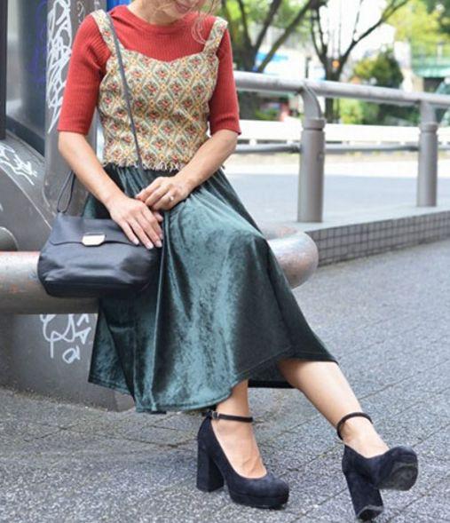 クラッシュベロア スカート