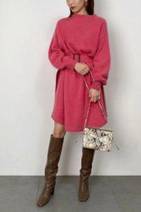 ボス恋「上白石萌音さん着用のピンク色のニットワンピ」